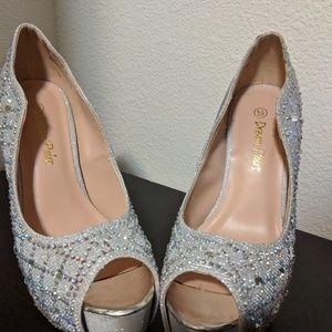 Heels silver rhinstones